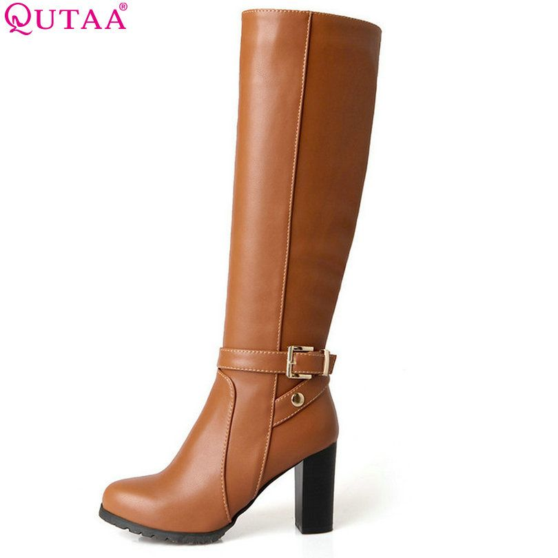 QUTAA 2018 Winter Autumn Women Boots Platforms Square Knee Heel Boots Motorcycle  Lady Shoes Size 34-43