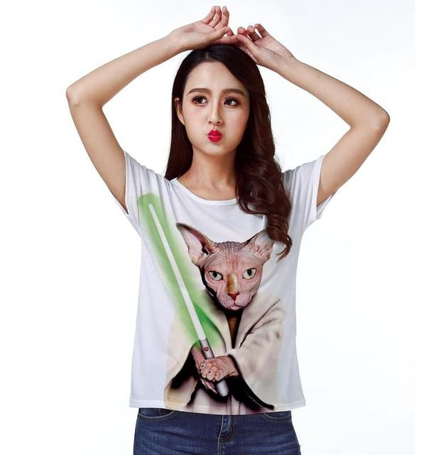 T-shirt Top Tee Star Wars War Cat Fighter Sword Sphynx 0281