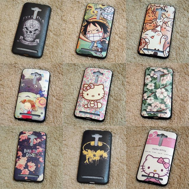 Luxury Cats Hello Kitty Case For Coque ASUS ZenFone 2 Lazer ZE550KL Cases Superman Batman Back Cover TPU Silicone & PU leather
