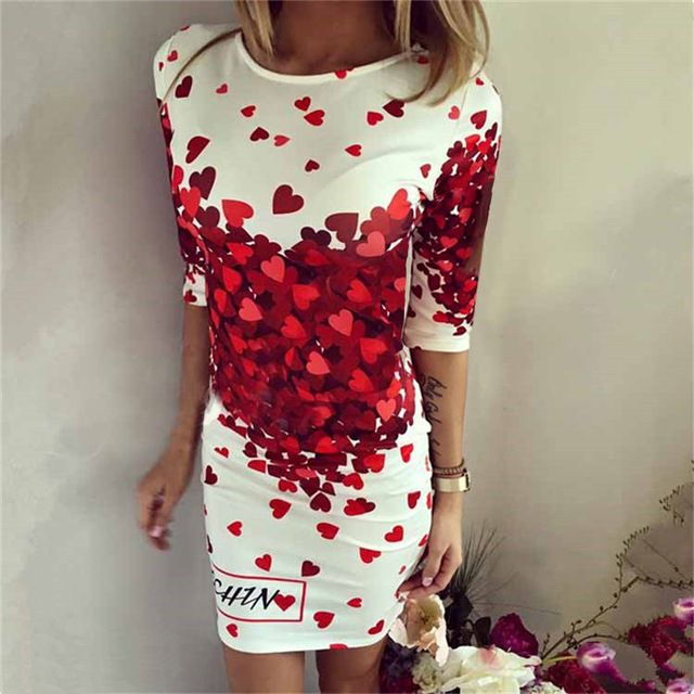 2018 Summer Dresses Women Sexy Party Club Bodycon Sheath Casual Elegant Dress Print Red Peach heart Lovely Dress