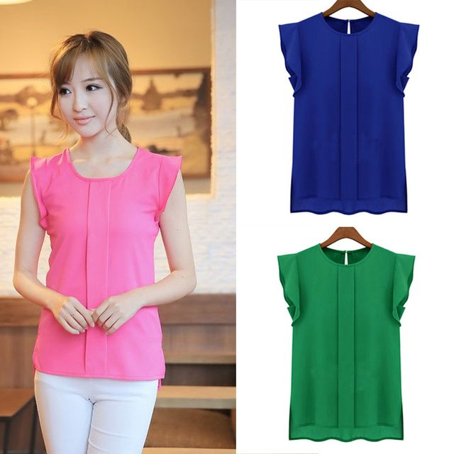 2015 Summer Style Women Blouses Sleeveless Chiffon Blouses  Crew Neck Flounced Sleeve After The Open Collar Chiffon Shirts