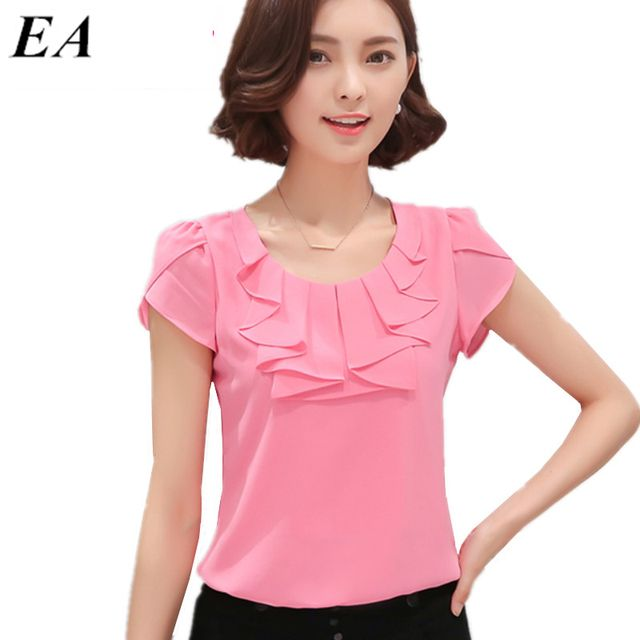 Office Women Shirts Blouses White Pink Purple Elegant Ladies Chiffon Blouse Short Sleeve Womens Tops Chemise Femme DT235