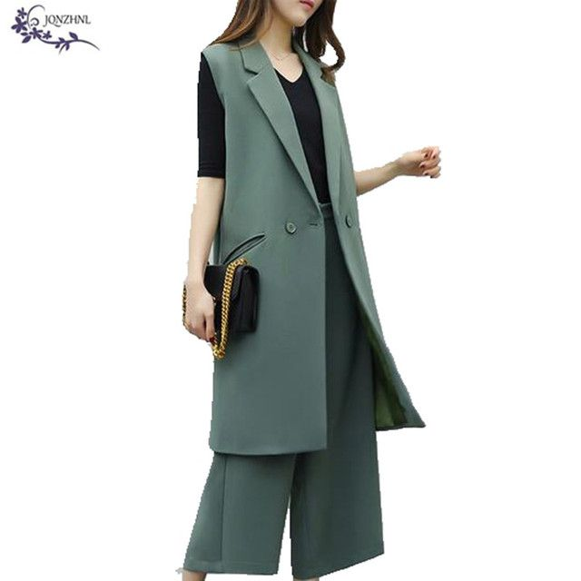 JQNZHNL Two Piece Set Women 2017 Korean Hot Fashion Suit Vest Plus size temperament Leisure Wide leg pants Set suit Female AA298