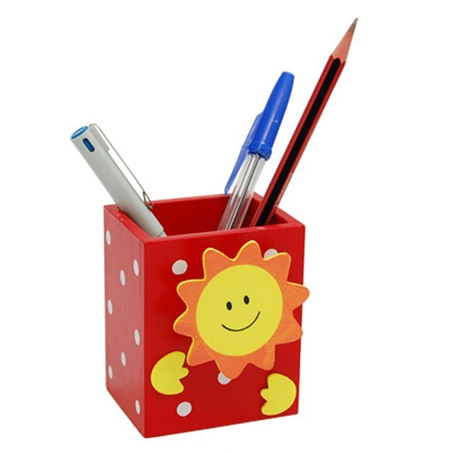 New and Hot Smile Sun Red Wooden Pencil Pen Holder with Memo Clip