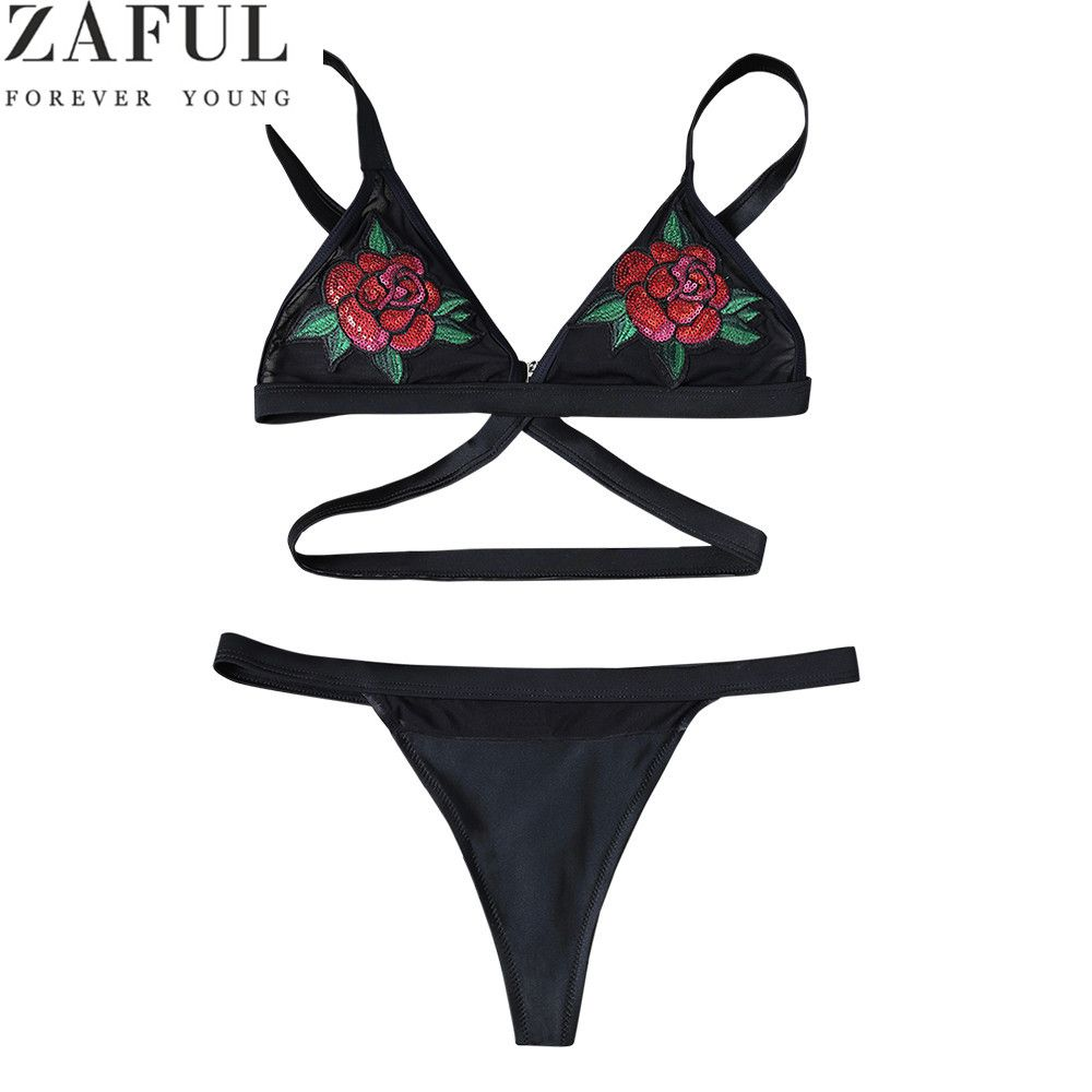 ZAFUL Bikini Set 2018 Women Rose Embroidery Swimwear Sexy Thong Bottom Biquini Swimsuit Bathing Suit Bikini Maillot De Bain
