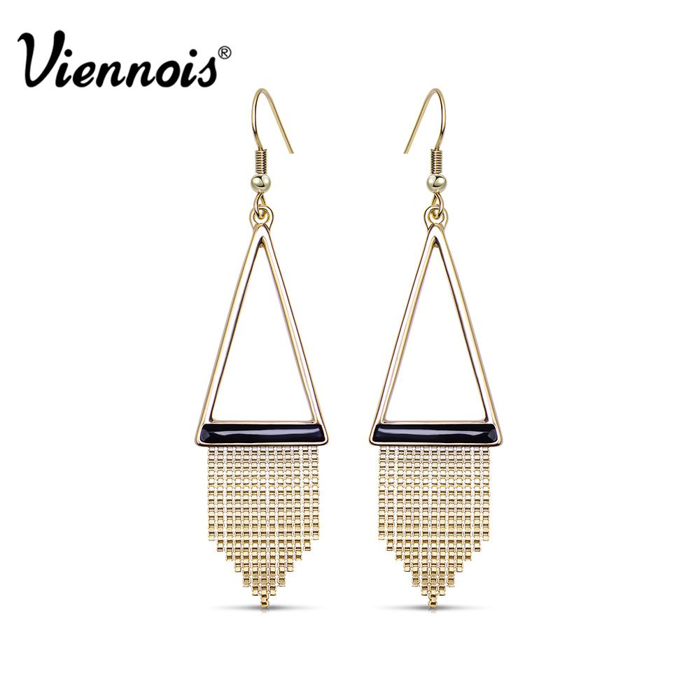 Newest Viennois Fashion Jewelry Gold Color Triangle Dangle Earrings for Woman Gold Tassel Earrings Long Geometric Earrings