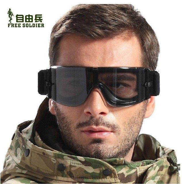 Free Shipping Airsoft Painball Tactical X800 SWAT Goggles Protection Glasses 3 Lens Included with free box
