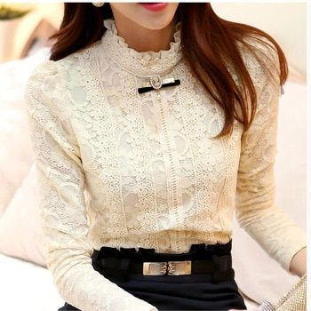 Lace Shirt Women Clothing Blusas Femininas Blouses & Shirts 2015 New Fashion women tops Thick Fleece Women Crochet Blouse 018A
