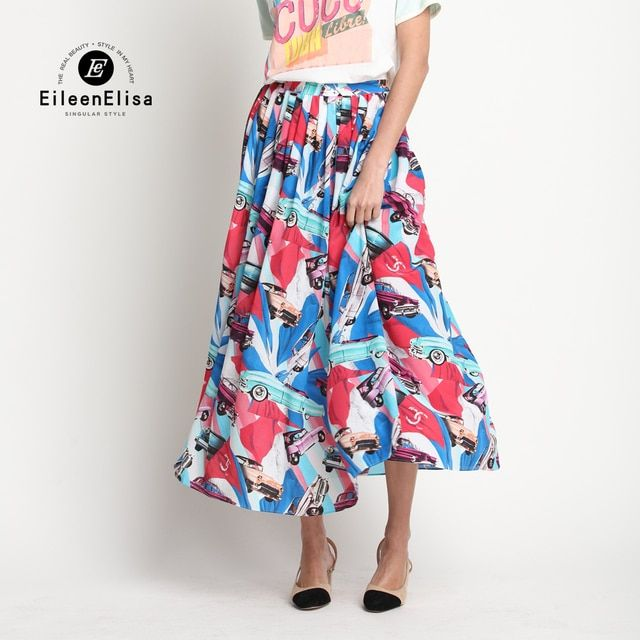 Runway Skirt 2017 Women High Quality Print Skirt Midi Ladies Straight Skirts Patterns
