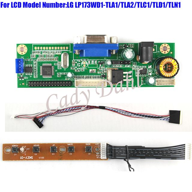 VGA Driver Controller Board Module + 40p Lvds Cable Kits for LP173WD1 - TLA1/TLA2/TLC1/TLD1/TLN1 1600x900 2ch 6 bit LCD Display