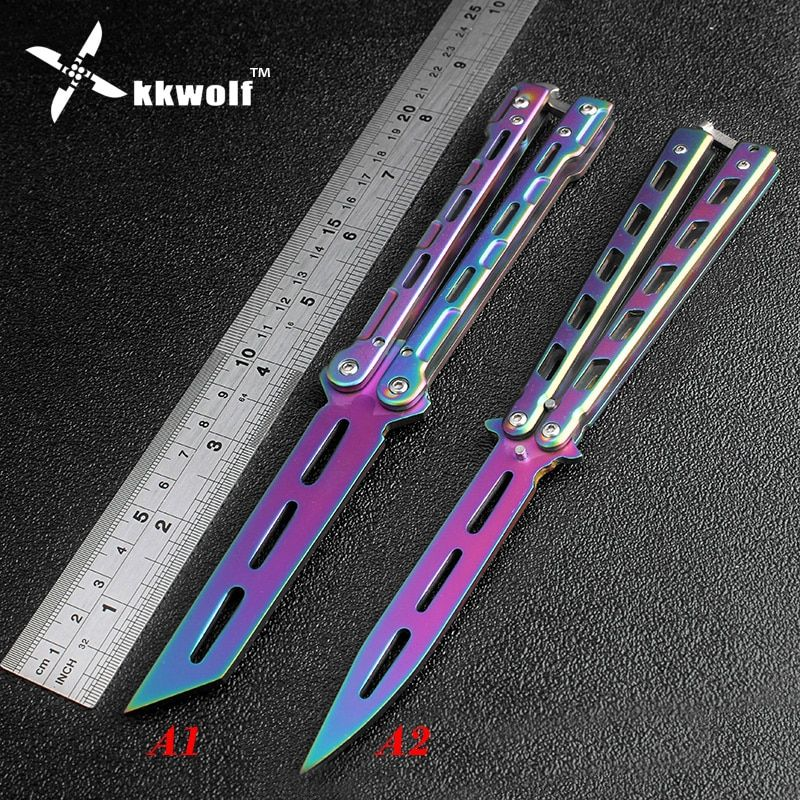 KKWOLF Rainbow color butterfly training knife stainless steel Practice trainer balisong knife Karambit folding knife no edge