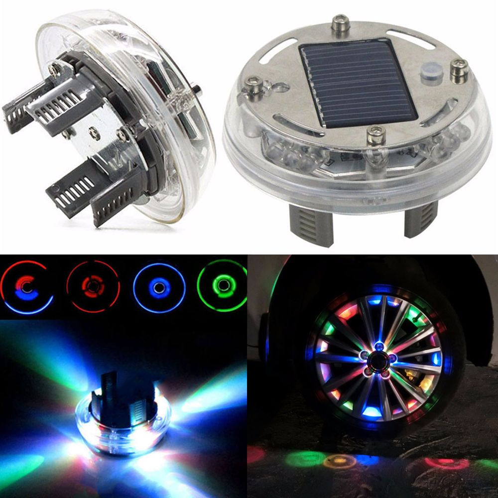 1PC 4 Mode 12 LED Car Covers Auto Solar Energy Flash Wheel Tire Light Lamp Car Decoration Light RGB Wheel Cap LED Rims Tires
