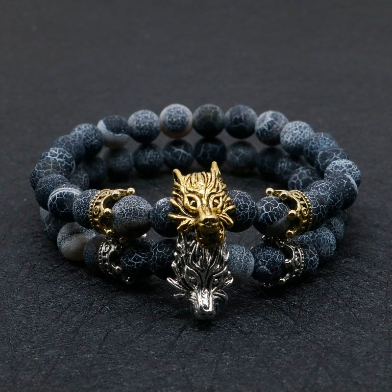 8mm Silver Plated Animal Wolf Head Bracelet With Natural Black Lava Rock Stone Energy Men Beaded Bracelets For Women A-5
