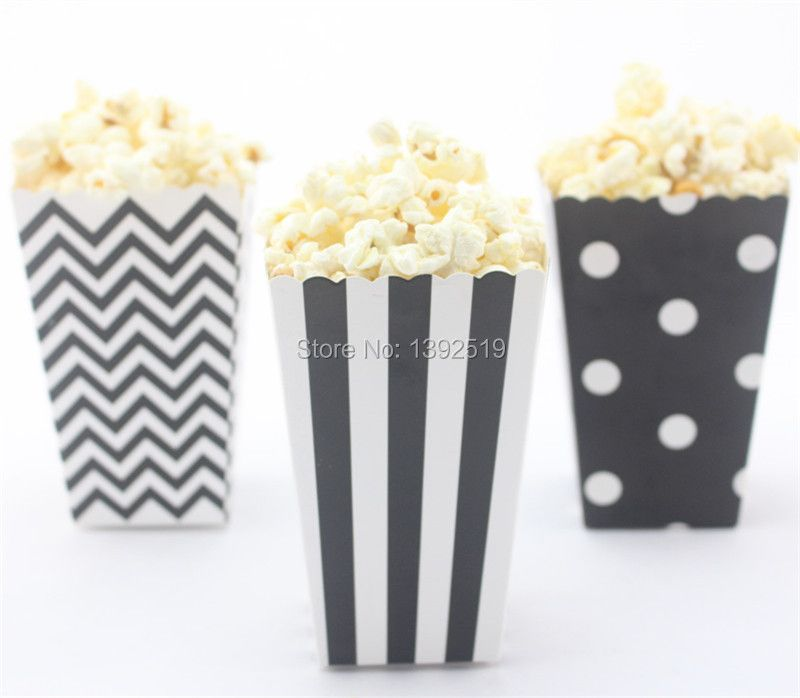 Free Ship 36pcs Black Popcorn Box Striped Dot Chevron Design Popcorn Bucket  Candy Box Food Packing Popcorn Container for Party
