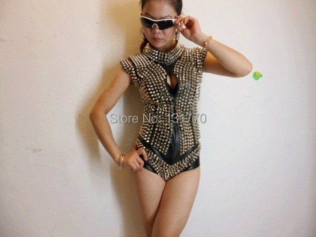 2015 new style fashion star personality nightclub bar rivets PU leather one piece costumes female dj singer performance bodysuit