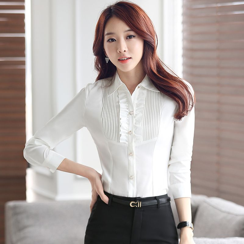Lenshin women's clothing Ruffles long sleeve blouse Office Lady business Formal shirts plus size work wear tops