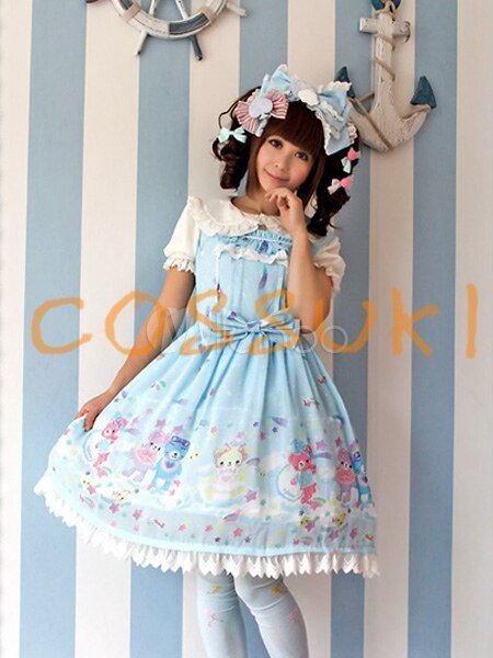 Free shipping! Newest! High quality! Sweet Bows Chiffon Lolita Jumper Skirt