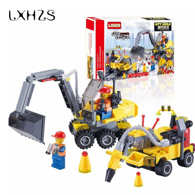 Urban City Engineering Excavator Team Assemble Small Particles Building Blocks DIY Educational Toy Birthday Gift