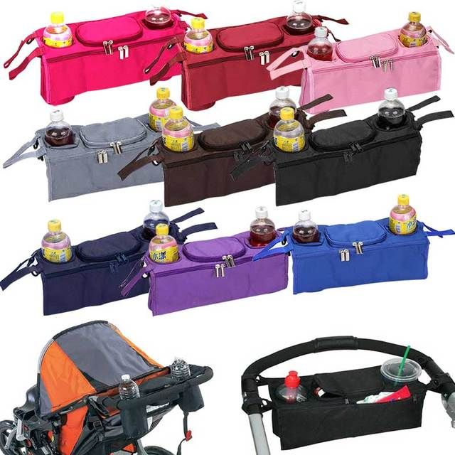 New Baby Stroller Bag Accessories 3 in 1 Organizer Infant Carriage Cooler Wheel Hanging Bags Cart Bottle Holder BM