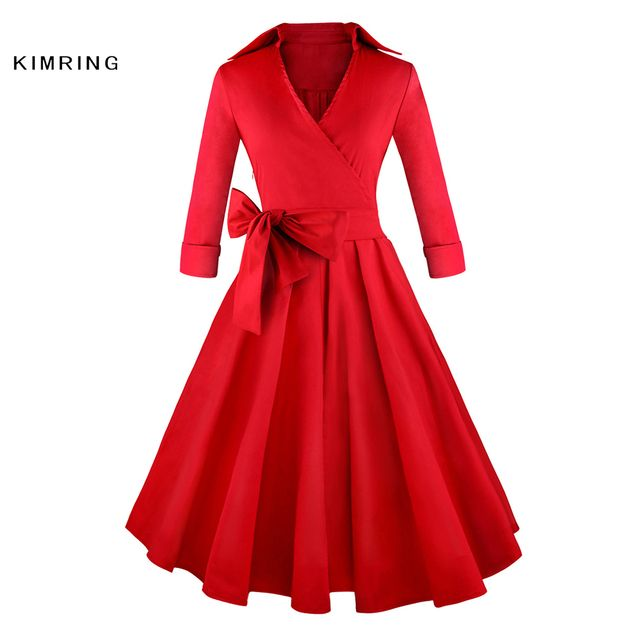 Kimring Sexy Vintage Deep-V Dress Audrey Hepburn Party Autumn Half-Sleeves Cocktails Rockabilly Robe Swing Dress Women