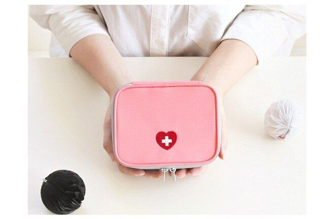13*10*4cm Women Mini Portable Medicine Storage Bag First Aid Medical Kits Organizer Outdoor Household Bag