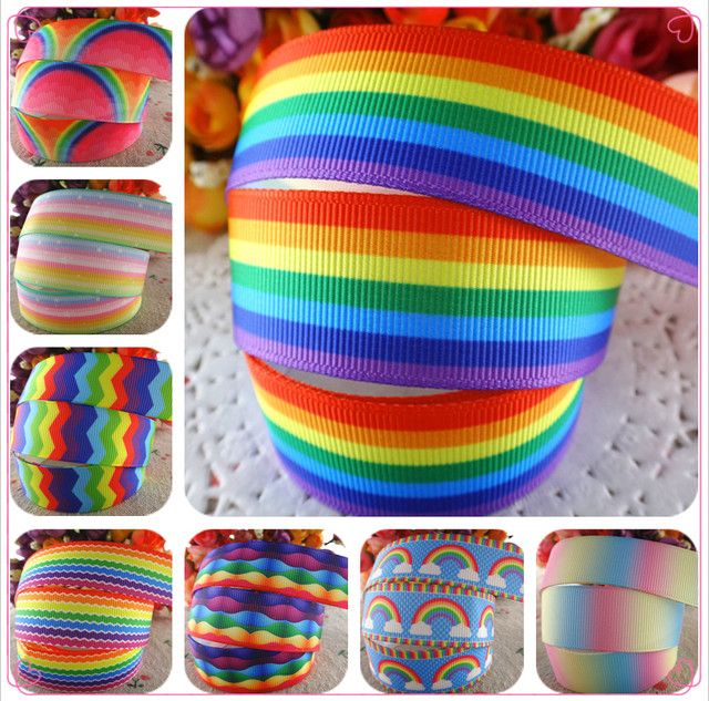 "10 yards 7/8"" (22mm) rainbow stripe printed grosgrain ribbons cartoon ribbon diy hair accessories WQ14062822"