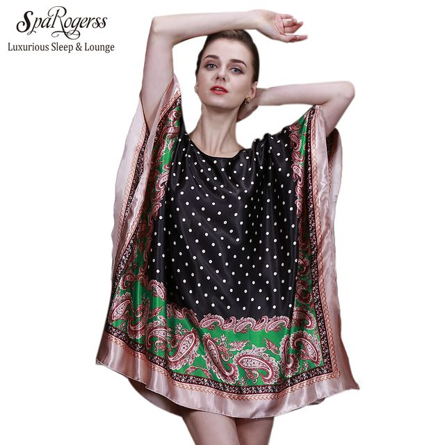 SpaRogerss 2017 Top Summer Style Faux Silk Indoor Clothing Women Pyjamas Women Mini Nightgowns Of Home Clothing For Sleep YT042