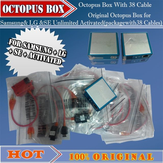 gsmjustoncct 100% original new Octopus Box for Samsung& LG &SE Unlimited Activated(packagewith38 Cables)ForS5 N900T&N900A&N9005
