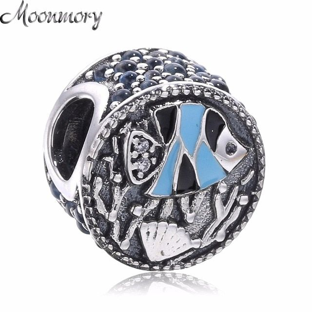 Moonmory Sea Fish Coral Ocean Life Charm Silver charm 925 Sterling Silver Bead With Blue Zircon Enamel Fit Pandora Bracelet DIY