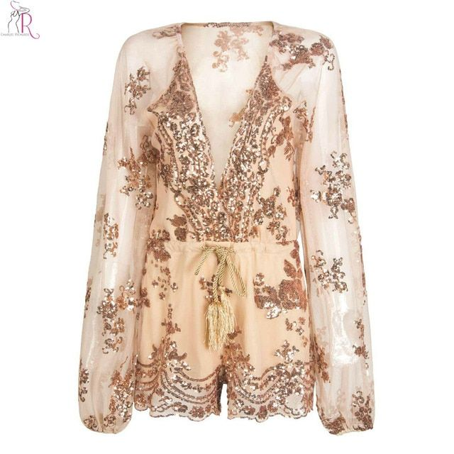 Apricot Women Romper Playsuit Sheer Long Sleeve Sequined Floral Deep V Neck Sexy Streetwear Drawstring Waist 2017 Fall Fashion