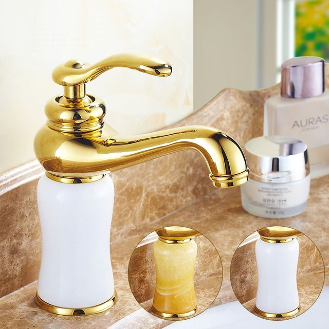 European Yellow/White jade marble basin faucet hot and cold mixer water tap, Copper gold plated style wash basin faucet Whosale