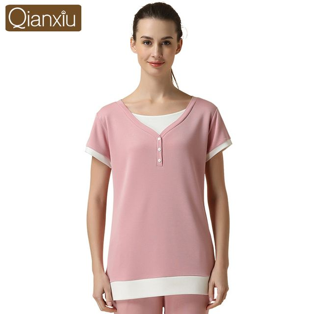 Qianxiu Pajama Set for women Knitted Modal Lounge wear Patchwork Sleepwear For Summer