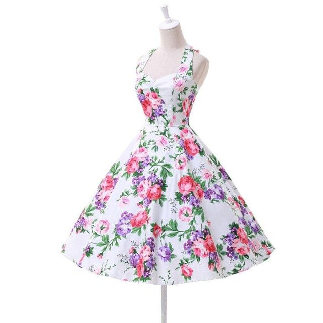 Women Summer Dress Audrey Hepburn Floral Retro Vintage 50s Polka Casual Party Rockabilly Dresses Plus Size Vestidos Femininos