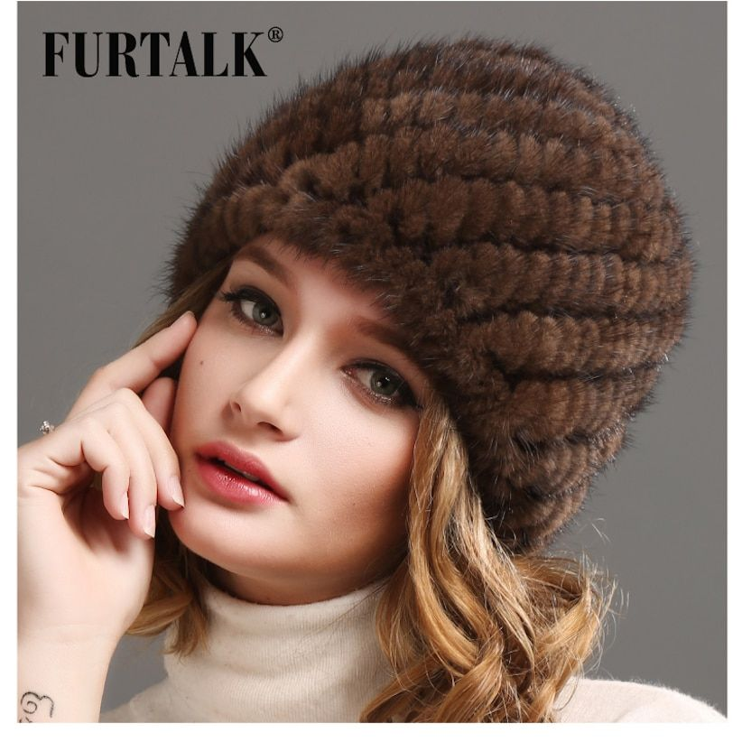Women Russian winter mink fur hat Women Natural Fur cap Luxury knit mink fur hat beanie