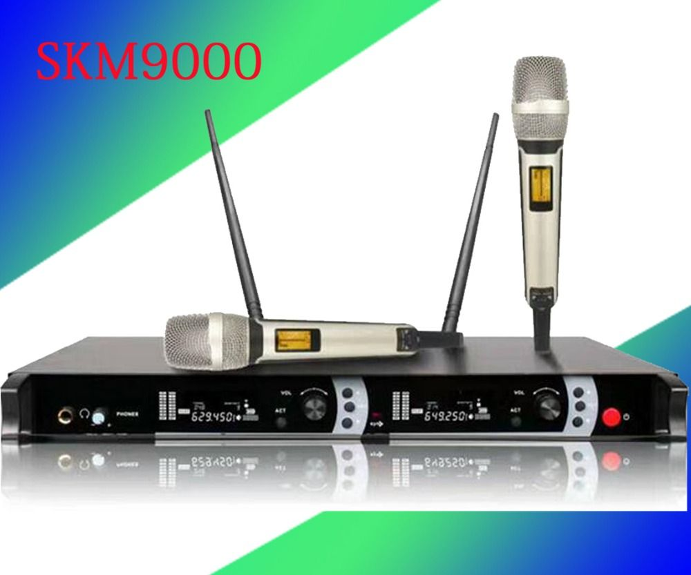 Top Quality SKM9000 for Stage !! Golden Handheld Mic Professional SKM 9000 Wireless Microphone System 2 Performances