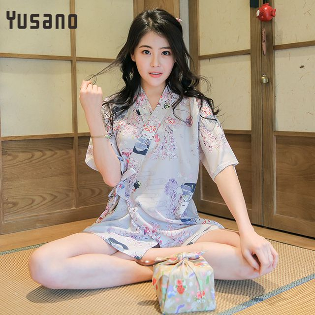 Yusano women floral Pajamas Janpanese style Kimono suits Cotton Adults sleepwear sets summer pyjamas sleeping pijamas de bichos
