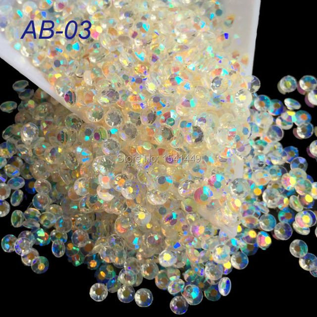 1000pcs/package 2mm 3mm 4mm Jelly Transparent Crystal White Resin 3D AB Magic Color Rhinestone Phone Beauty Nail Art AB03