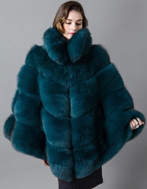 Queen design luxury real fox fur cloak coat with collar for women thicken fur female cape outwear