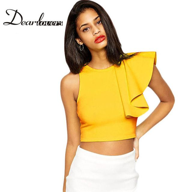 Dear lover Summer Camisole Crop Tops Fashion 2017 Yellow Blue One-shoulder Ruffle Bustier Crop Top Casual Vest women LC25434