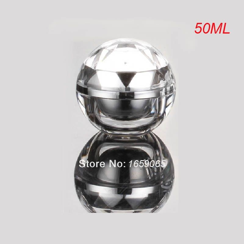 50g silver acrylic ball shape cream bottle cosmetic container cream jar  Cosmetic Packaging Cosmetic Jar
