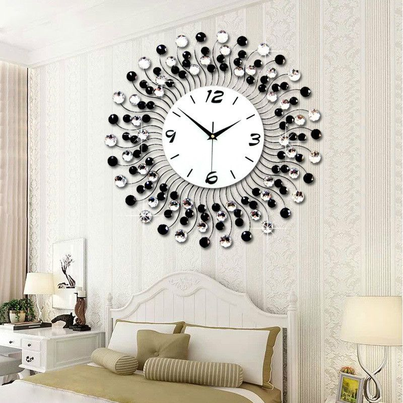 2016 New Fashion 3D Big Size Wall Clock with Diamond Wall Clocks for Home Decoration Lurury Style Digital Clock Free Shipping
