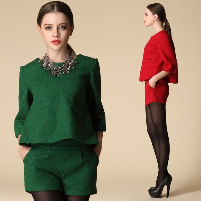 New Arrival 2017 European Fashion Women Woolen Sets Fall  Women 2 Pieces Clothing Set Woolen Green Red Suit