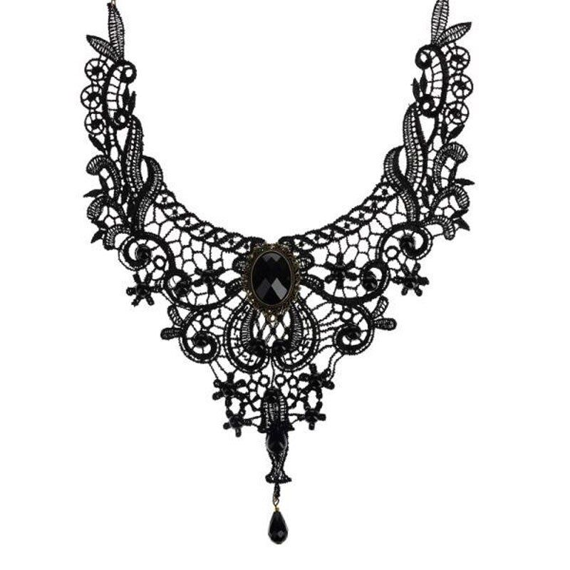 Fashion Goth Necklaces For Women 2019 Beauty Girl Handmade Jewelry Retro Vintage Lace Necklace Collar Gothic Choker Necklace