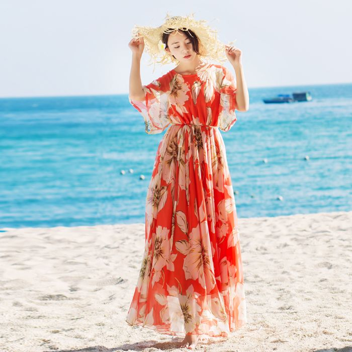 Womens Summer Maxi Dresses New Arrival Ladies Boho Dress Lily Floral Print Vintage Holiday Beach A Line Sundress