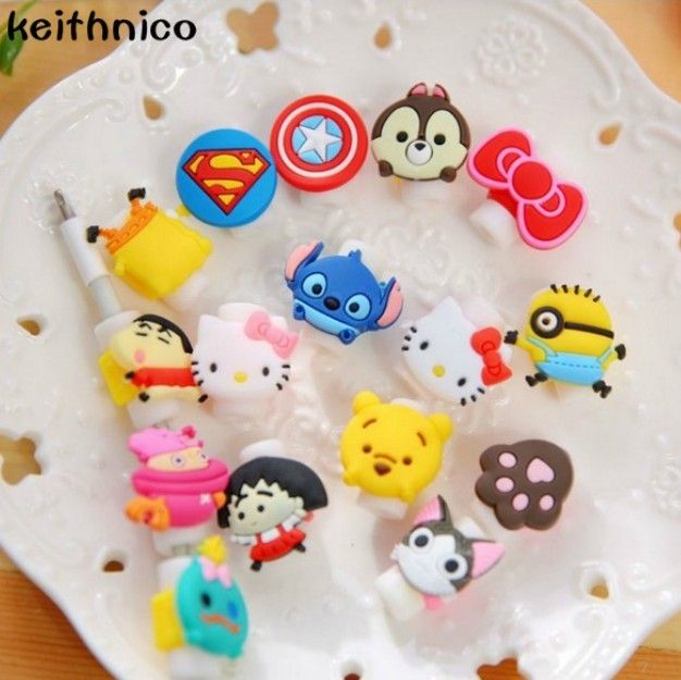 KEITHNICO 10pcs Cartoon Cable Saver Protector USB Charger Data Wire Line Protective Cover Cable Winder For iPhone 5s 6s Ipad