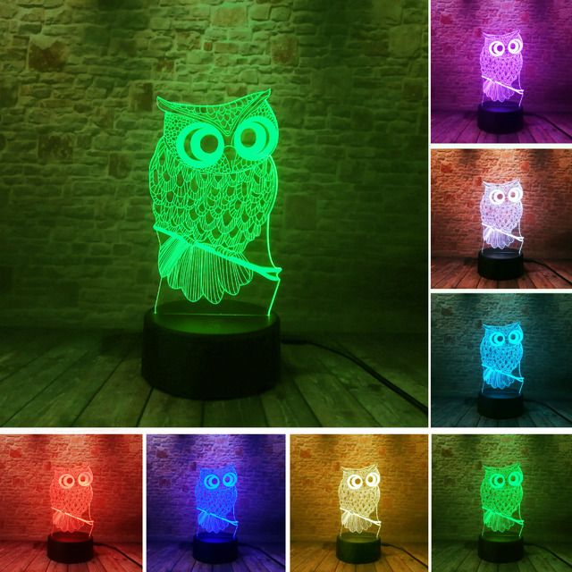 3D Owl LED Desk Table Lamp Night Light 7 Color Change Touch Art Home Child Bedroom Sleeping Decor Fashion Holiday Party Gifts