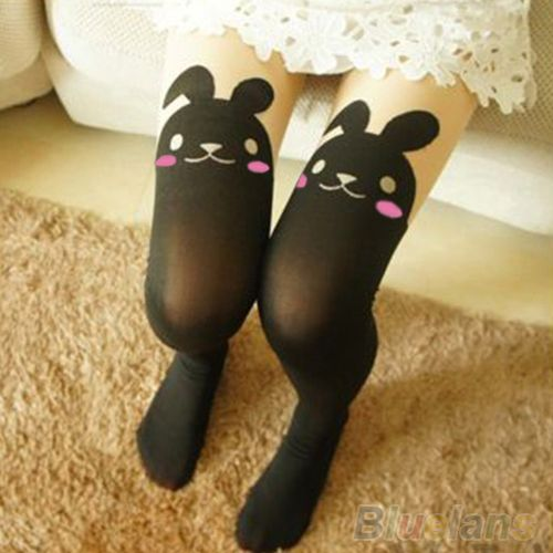 Hot Sale Japan Cute Sexy Rabbit Animal Print Over Knee BUNNY TAIL TATTOO TIGHTS PANTYHOSE 7EFT
