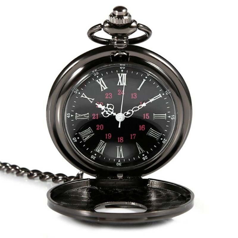 2016 High Rating Roman Retro Vintage Antique Steampunk Pocket Watch Black Men Women Clock Quartz Necklace Pendant Dress  Gift