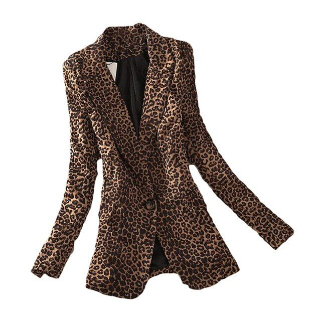 S-3XL 2016 Vintage Spring Women Plus Large Leopard Slim One Button Blazer Outwear Suit Female Jacket Coat ZL2844