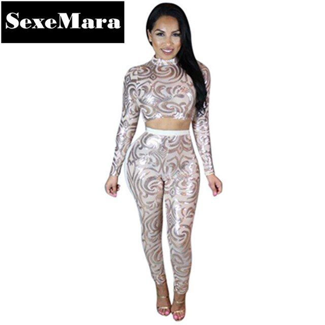 Winter Hot Geometric Embroidery Sequin Two Piece Jumpsuit Sexy See Through Mesh Bodysuit Leotard Rhinestone Playsuit D30-AE57